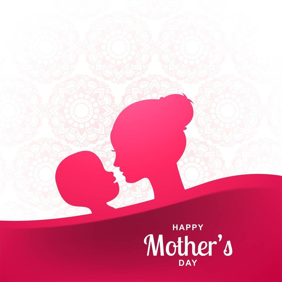 glücklicher Muttertag Hintergrund mit rosa Silhouetten vektor
