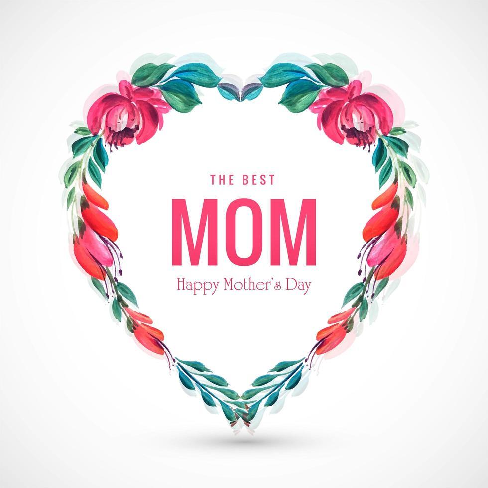 schöne Muttertagskarte dekorative Blumen Herz Hintergrund vektor