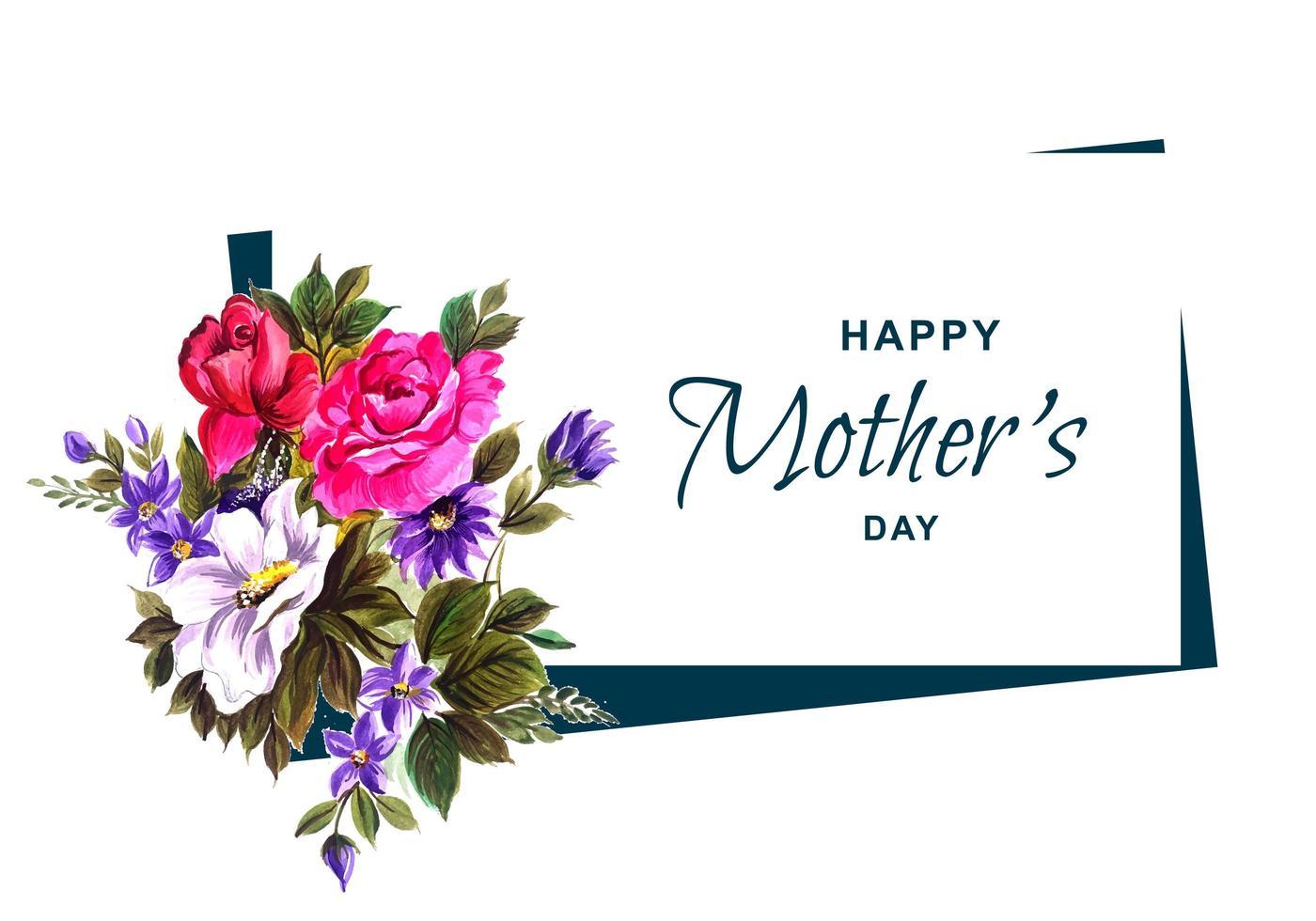 glückliche Muttertagskarte mit Blumenstrauß vektor