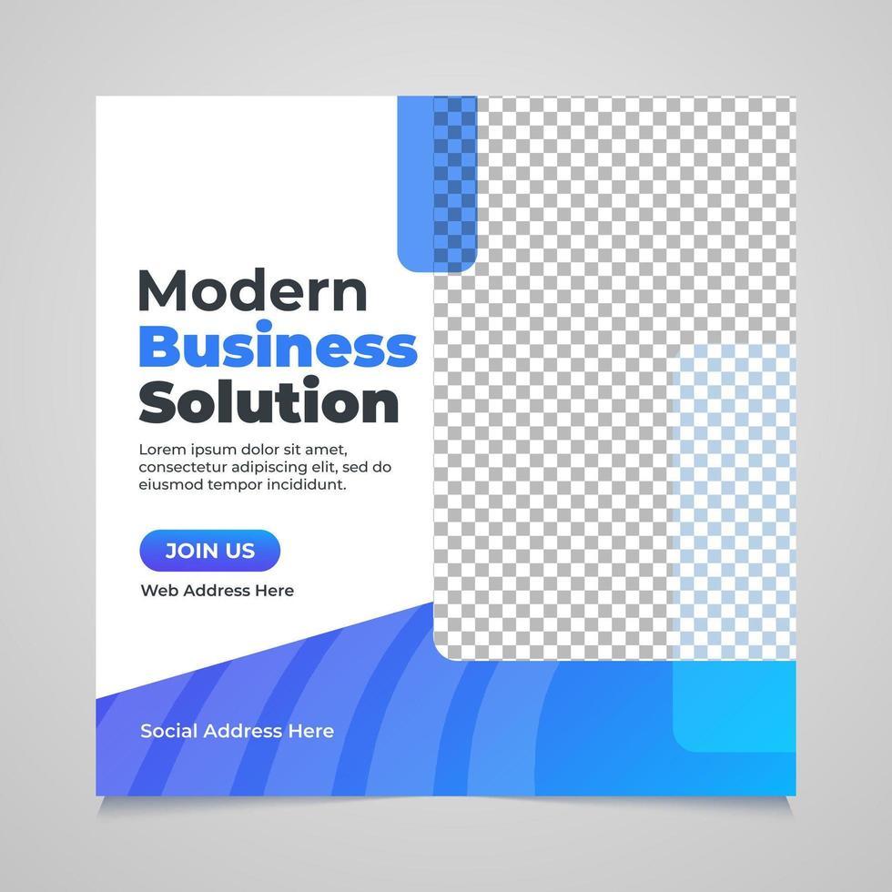 transparent blå form företags sociala medier post mall vektor