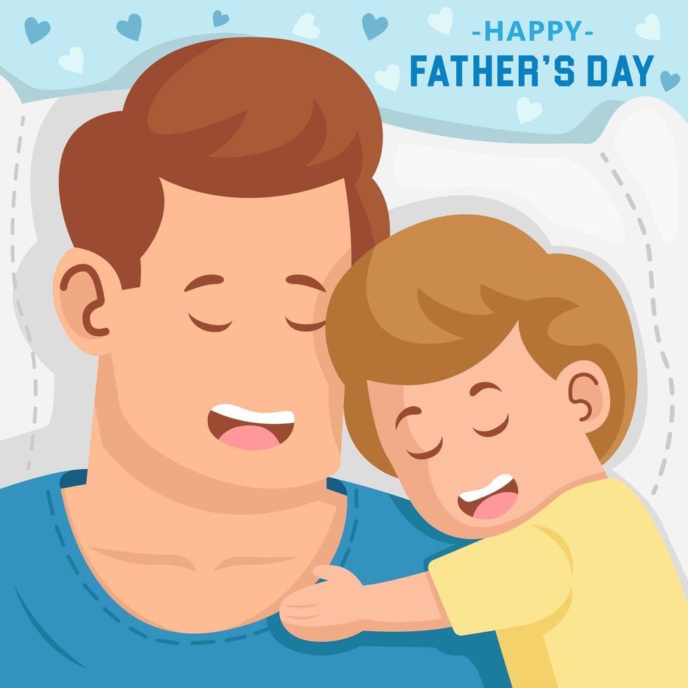 Vater und sein Sohn schlafen zusammen vektor