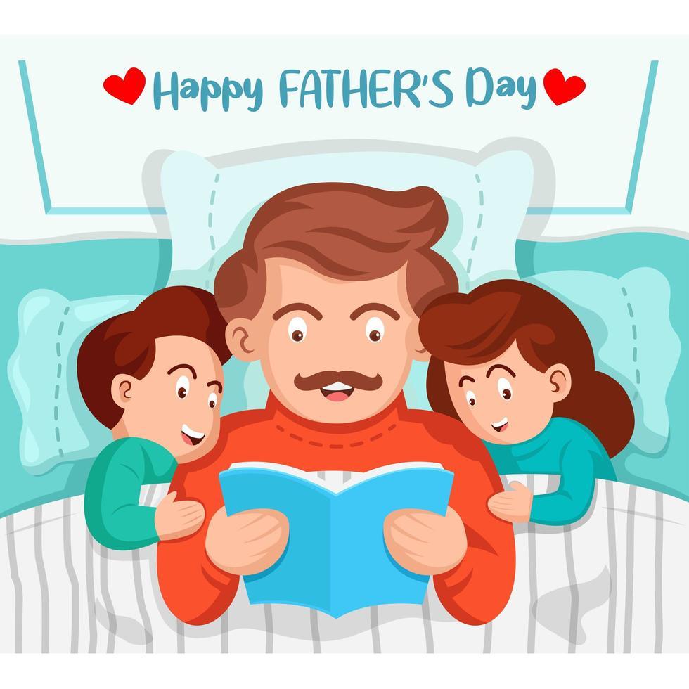 Vater liest Kindern im Bett ein Buch vor vektor