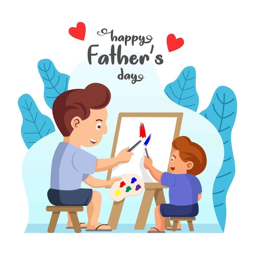 Vater und Sohn malen zusammen vektor
