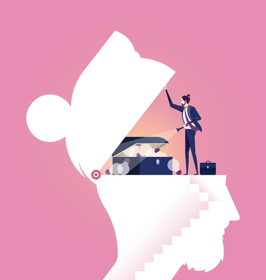 Geschäftsmann, der Ideenschatzkiste im Kopf findet vektor