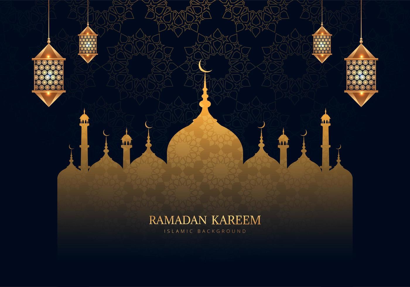 Ramadan Kareem schöne gemusterte Moschee Silhouette vektor