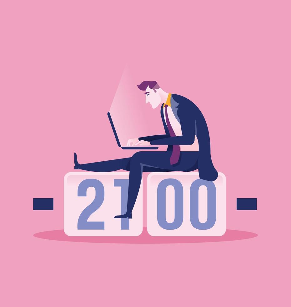 affärsman som sitter på klockan med laptop vektor