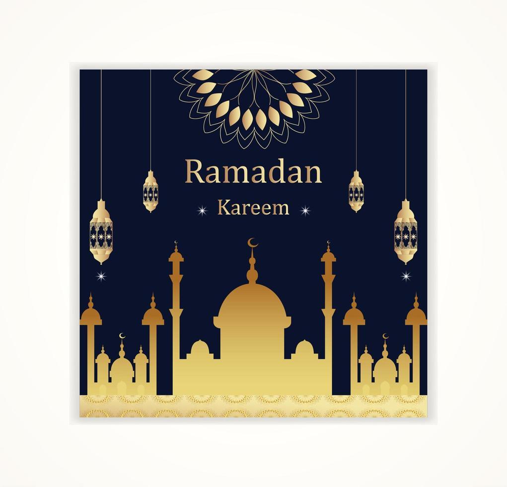 guld moské silhuett och lykta ramadan kareem kort vektor