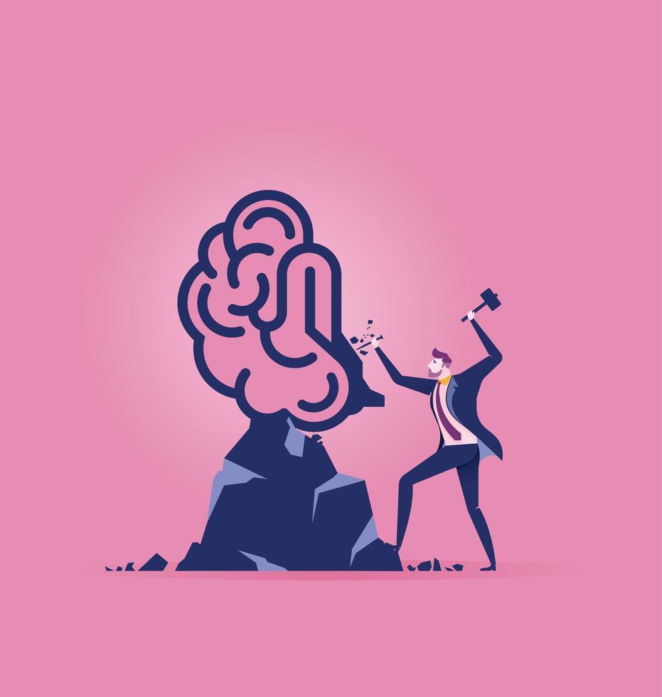 Geschäftsmann schnitzt Gehirn aus Felsen vektor