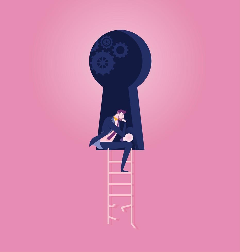 Geschäftsmann sitzt im Schlüsselloch und meditiert über den Erfolg vektor