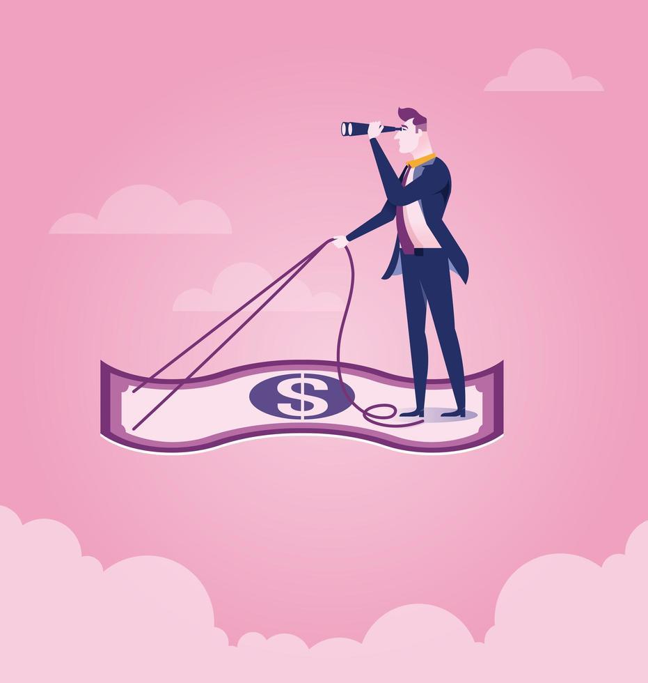 Geschäftsmann beim Fliegen auf Dollarschein vektor