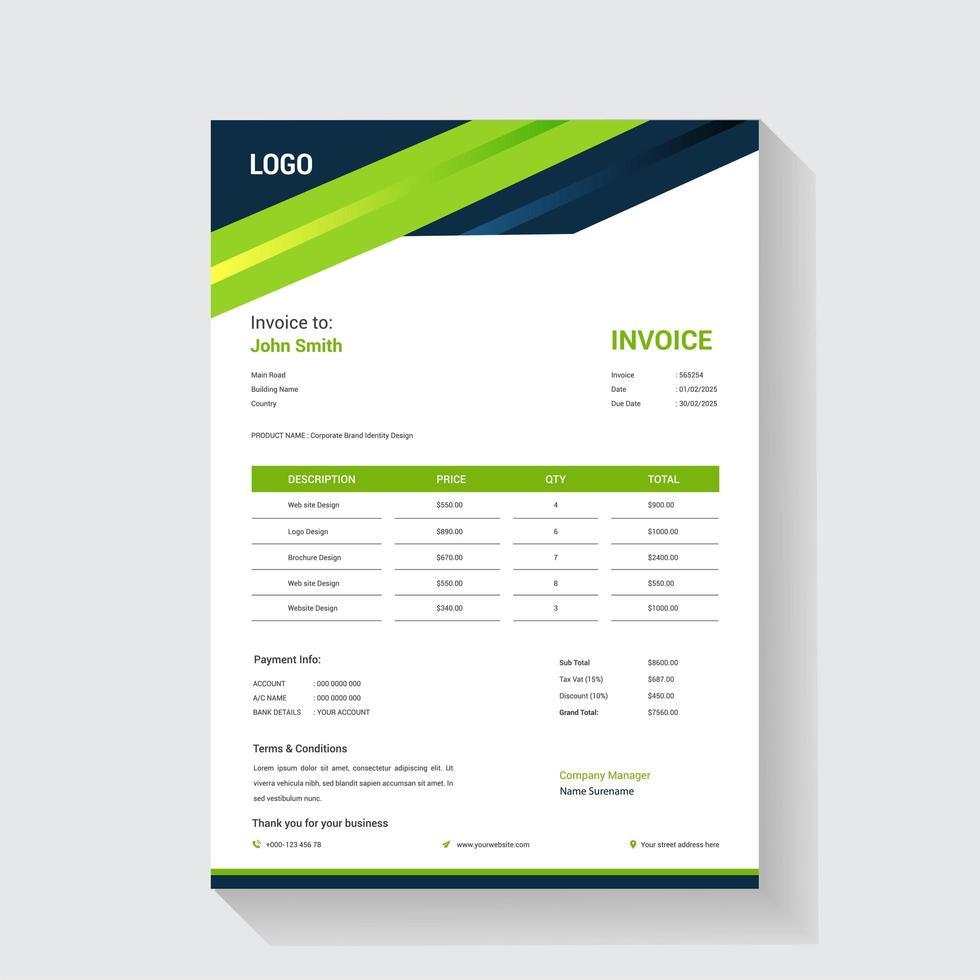 grüne und blaue dynamische Header-Rechnungsvorlage vektor