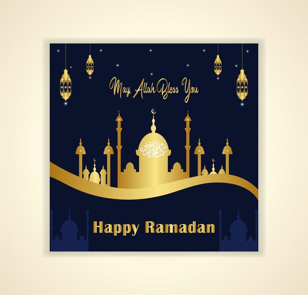 guld moské vågig ramadan kareem kort vektor