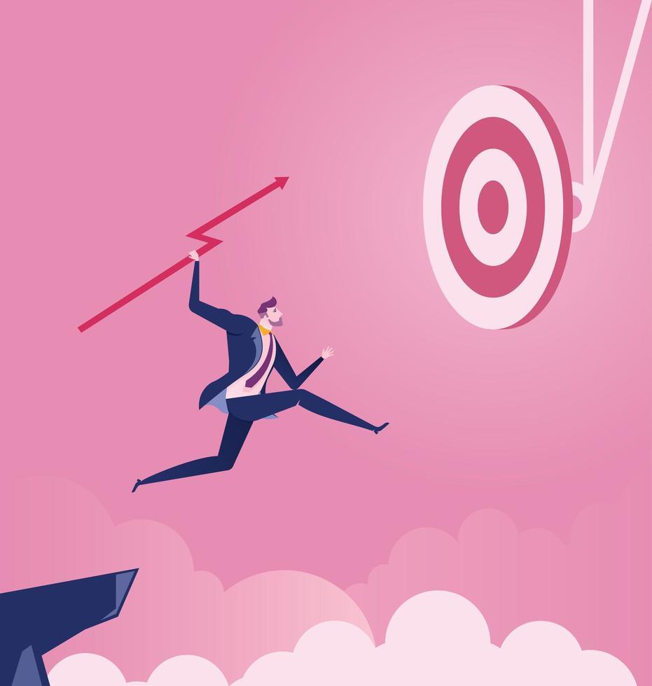 springender Geschäftsmann, der Speer zum Ziel wirft vektor