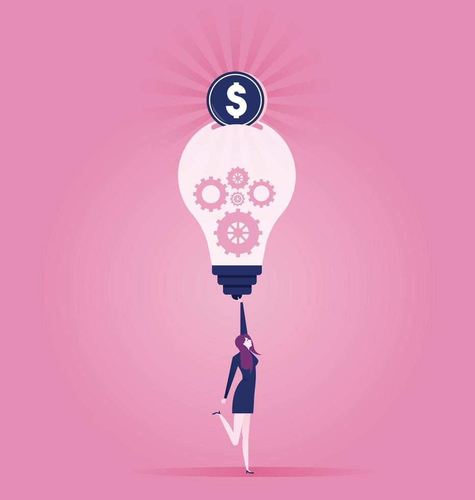 kvinna som håller glödlampan med pengar som kommer ut vektor