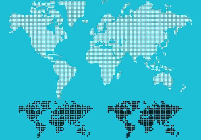 Prickad världskarta vektor