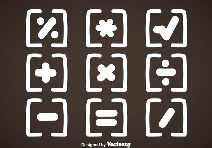 Weiße Mathe-Symbole Vektor
