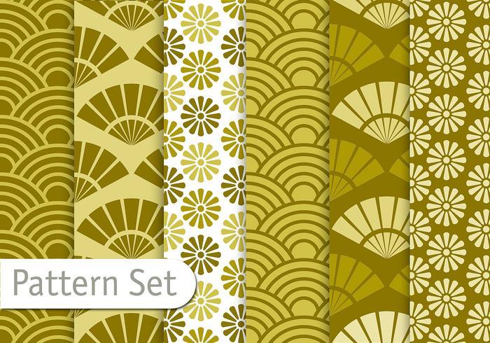 Olive Green Orient Mönster Set vektor