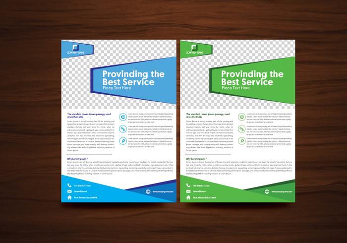 Blå och Grön Vektor Broschyr Reklam Vektor