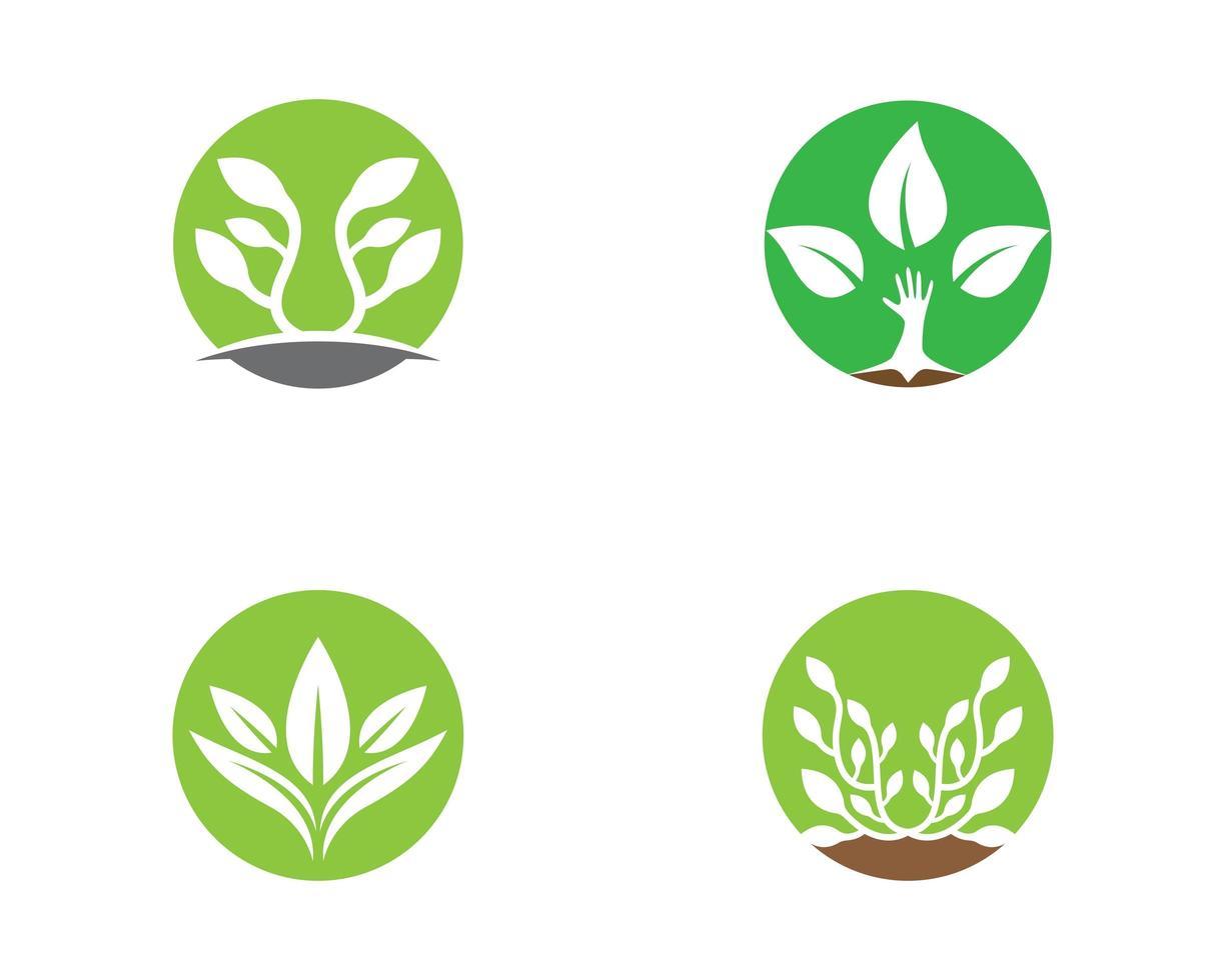 einfaches rundes Logo-Set in Grün und Weiß vektor