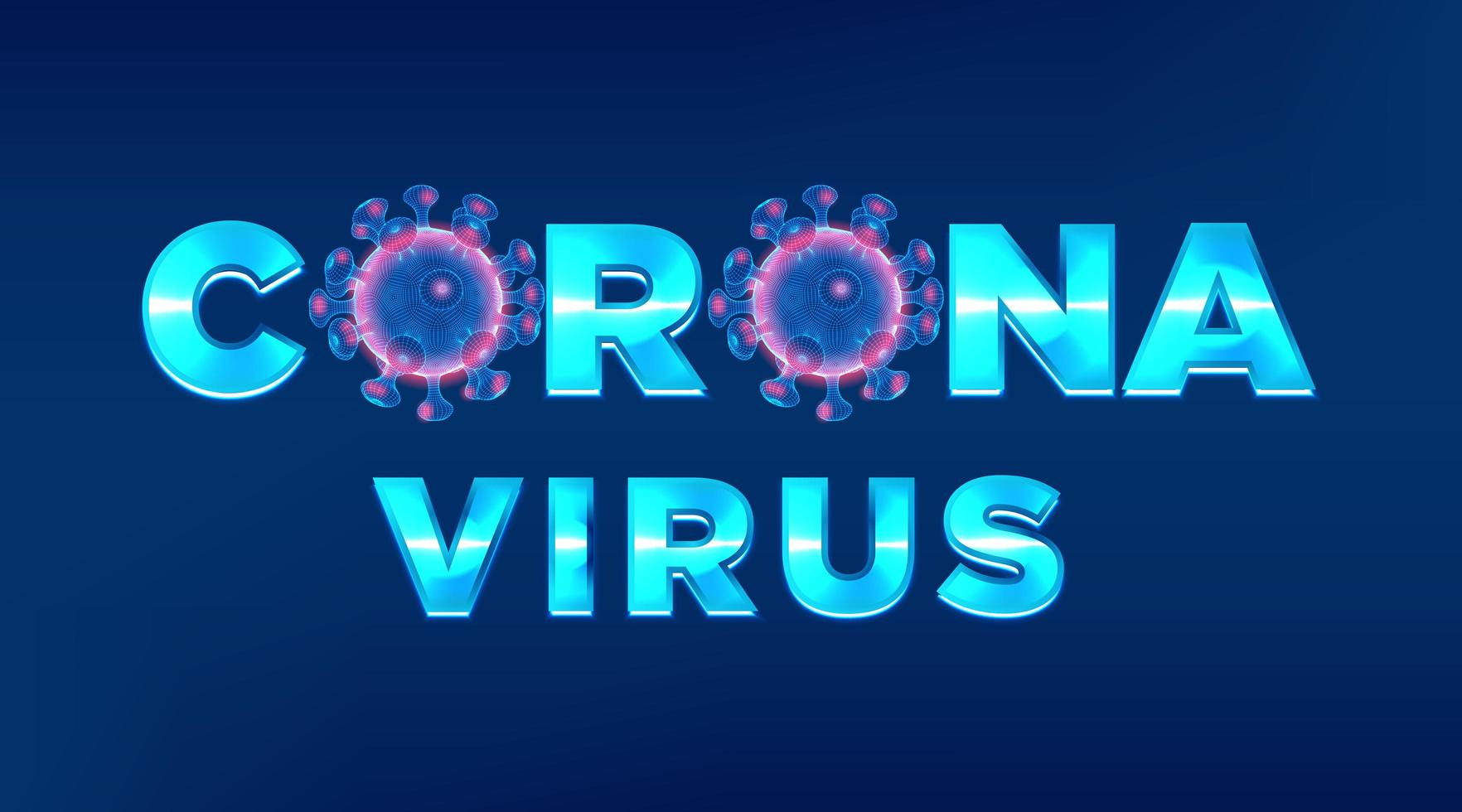 Coronavirus-Titel in hellblauen Buchstaben vektor