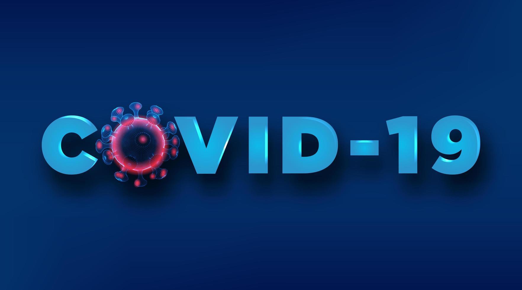 covid-19-Text mit Wireframe-Viruszelle vektor
