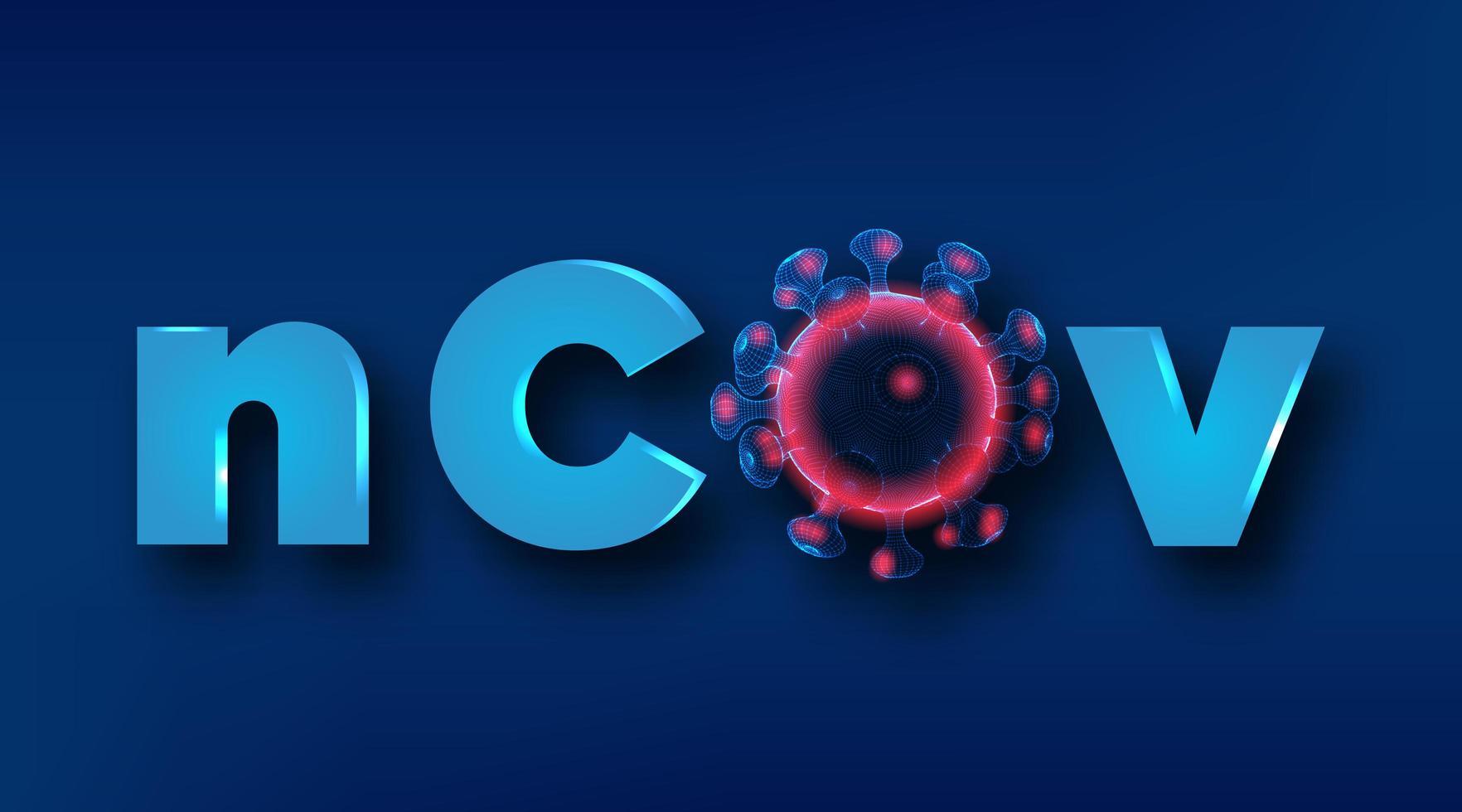 coronavirus wireframe-virus med ncov-text vektor