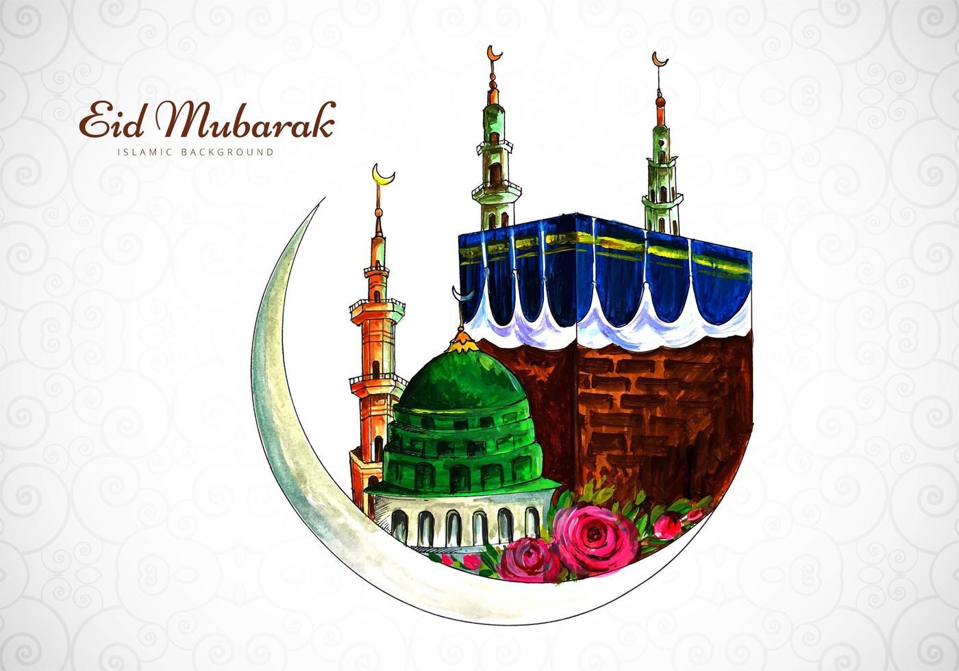Aquarell Eid Mubarak Gruß Collage vektor