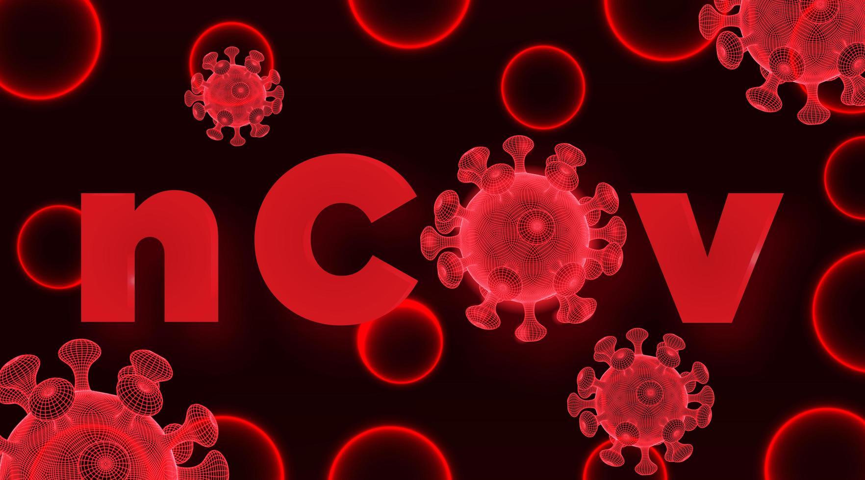 röda wireframe-virusceller för 2019-ncov vektor