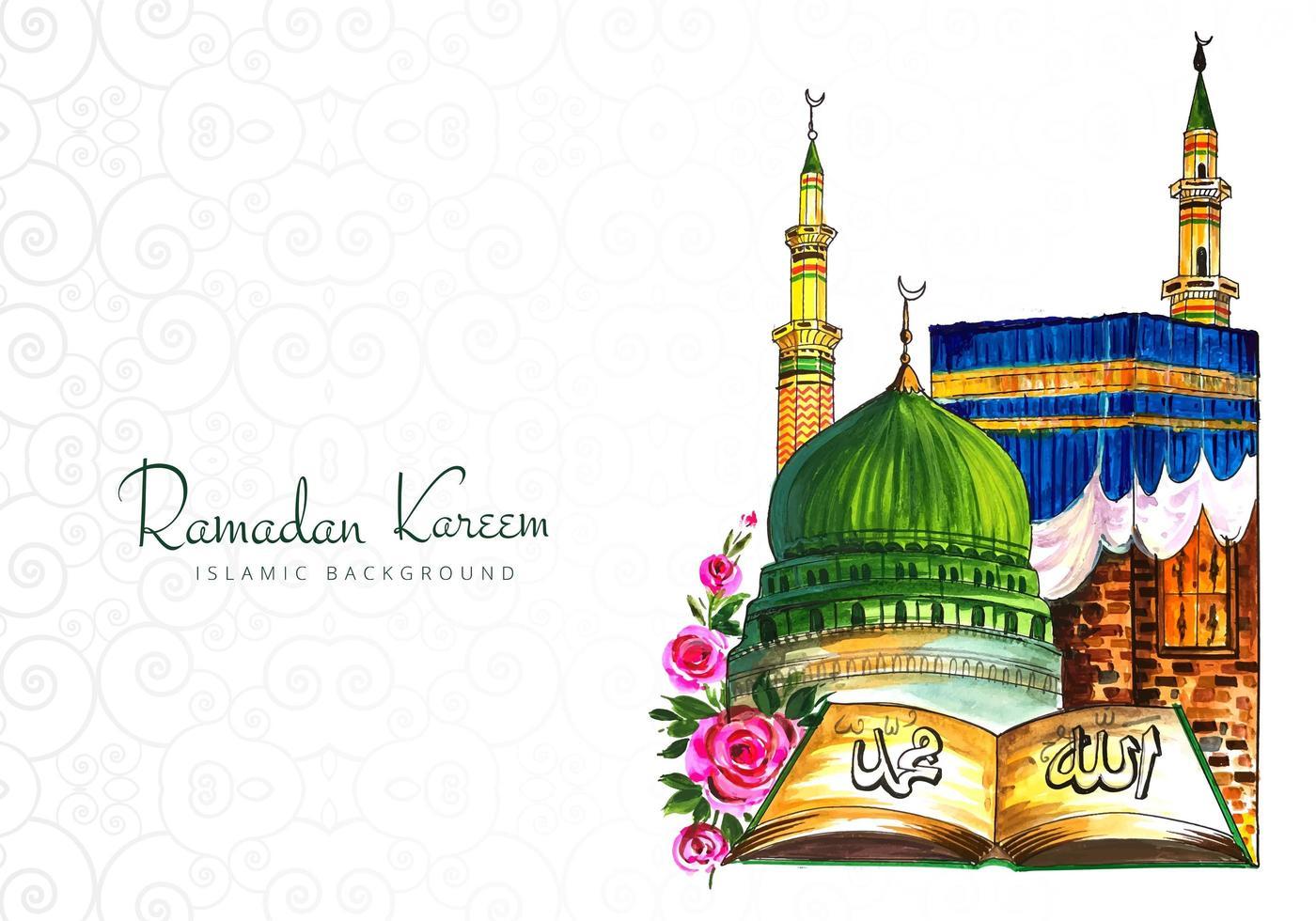 bunte Hand gezeichnete Ramadan Kareem Begrüßung vektor