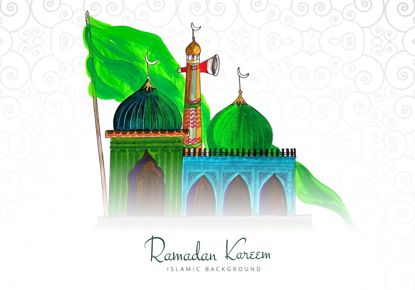 Ramadan Kareem Hand farbigen Hintergrund vektor