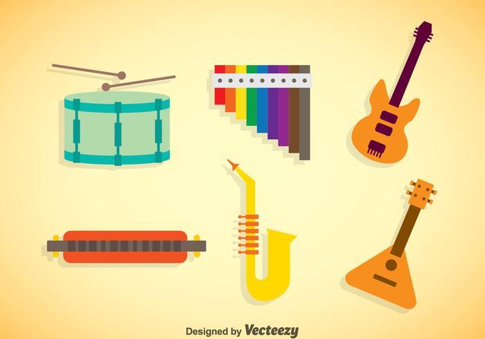 Musikinstrument Färger Ikoner Vector