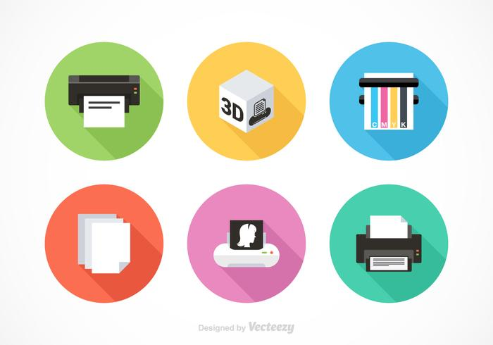 Kostenlose Drucker-Ausrüstung Vektor-Icons vektor
