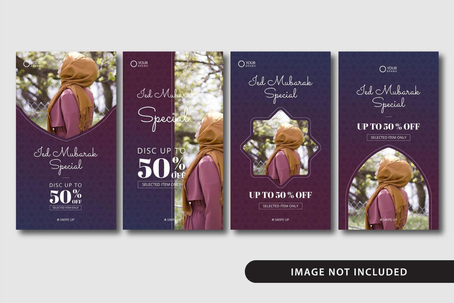 ied mubarak försäljning mallar för sociala medier vektor
