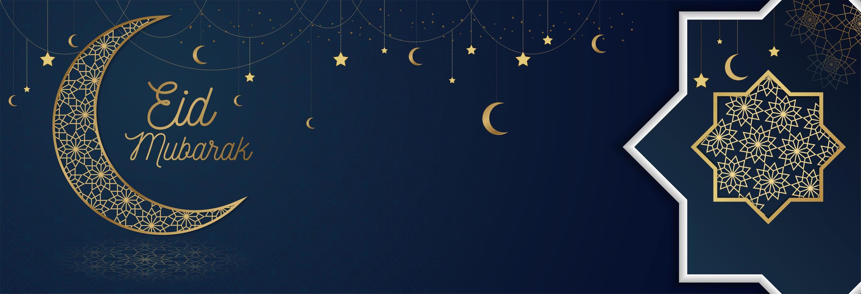 blå eid mubarak banner med guld utsmyckade element vektor