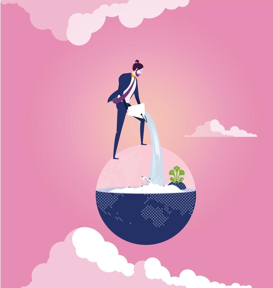 Geschäftsmann, der Wasser in Globus gießt vektor