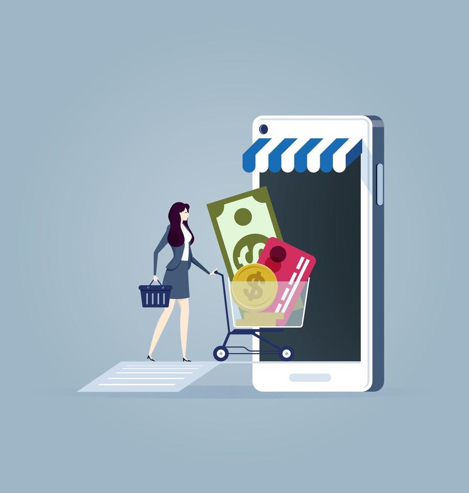 Geschäftsfrau mit Einkaufswageneinkauf auf dem Handy vektor