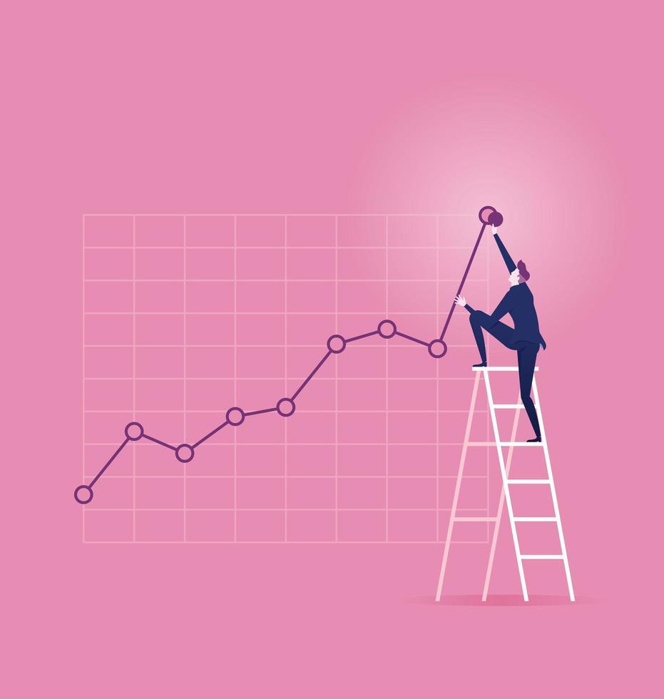 Mann klettert die Leiter hinauf, um die Grafik nach oben anzupassen vektor