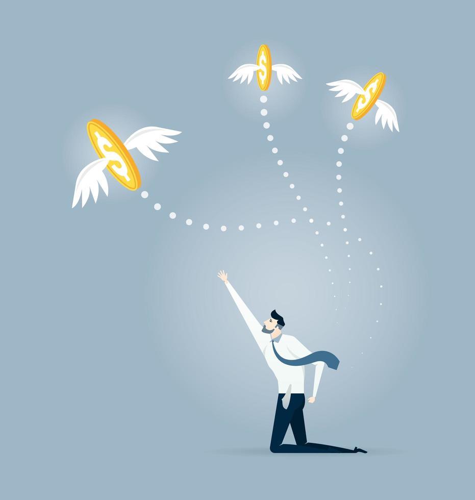 Geschäftsmann greift nach fliegenden Münzen vektor
