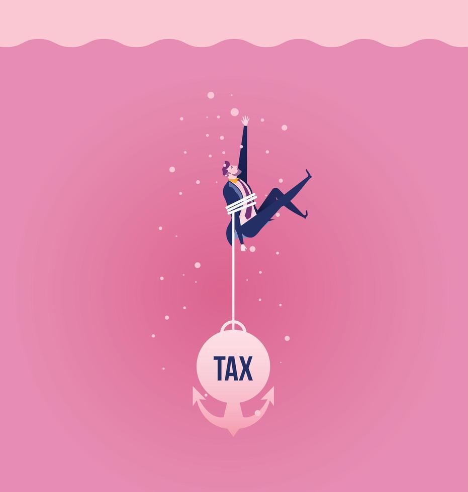 Mann verankert an Steuerschulden im Wasser versinken vektor