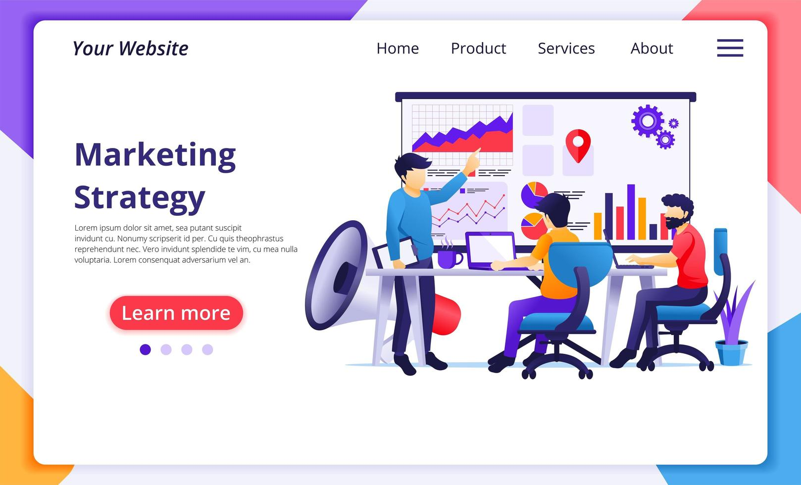 Marketingstrategie-Kollaborationskonzept vektor