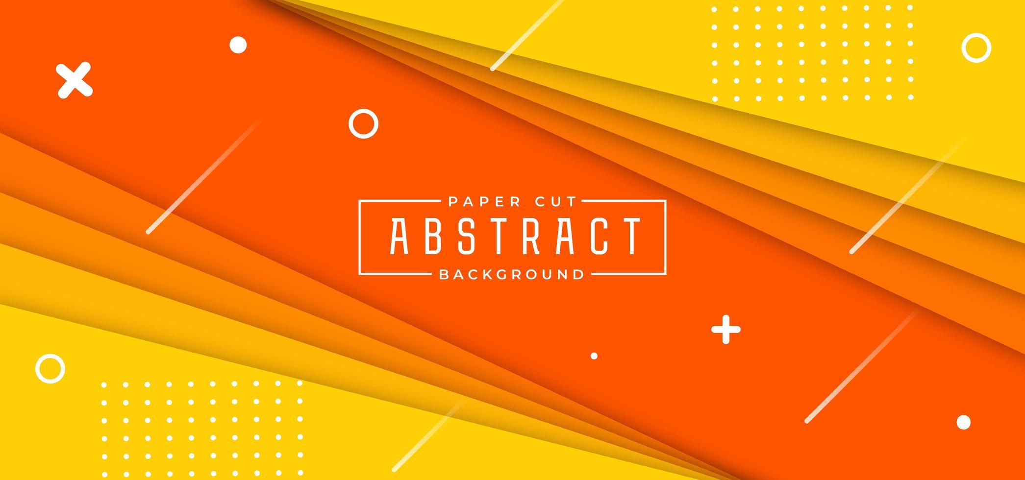 horizontales Banner mit orange und gelb geschichteten Winkeln vektor