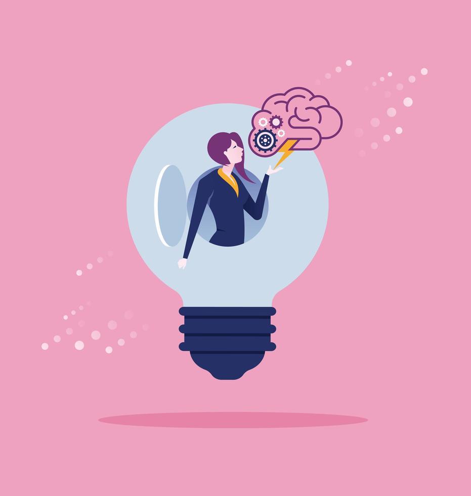 Geschäftsfrau offene Idee zum Erfolg vektor