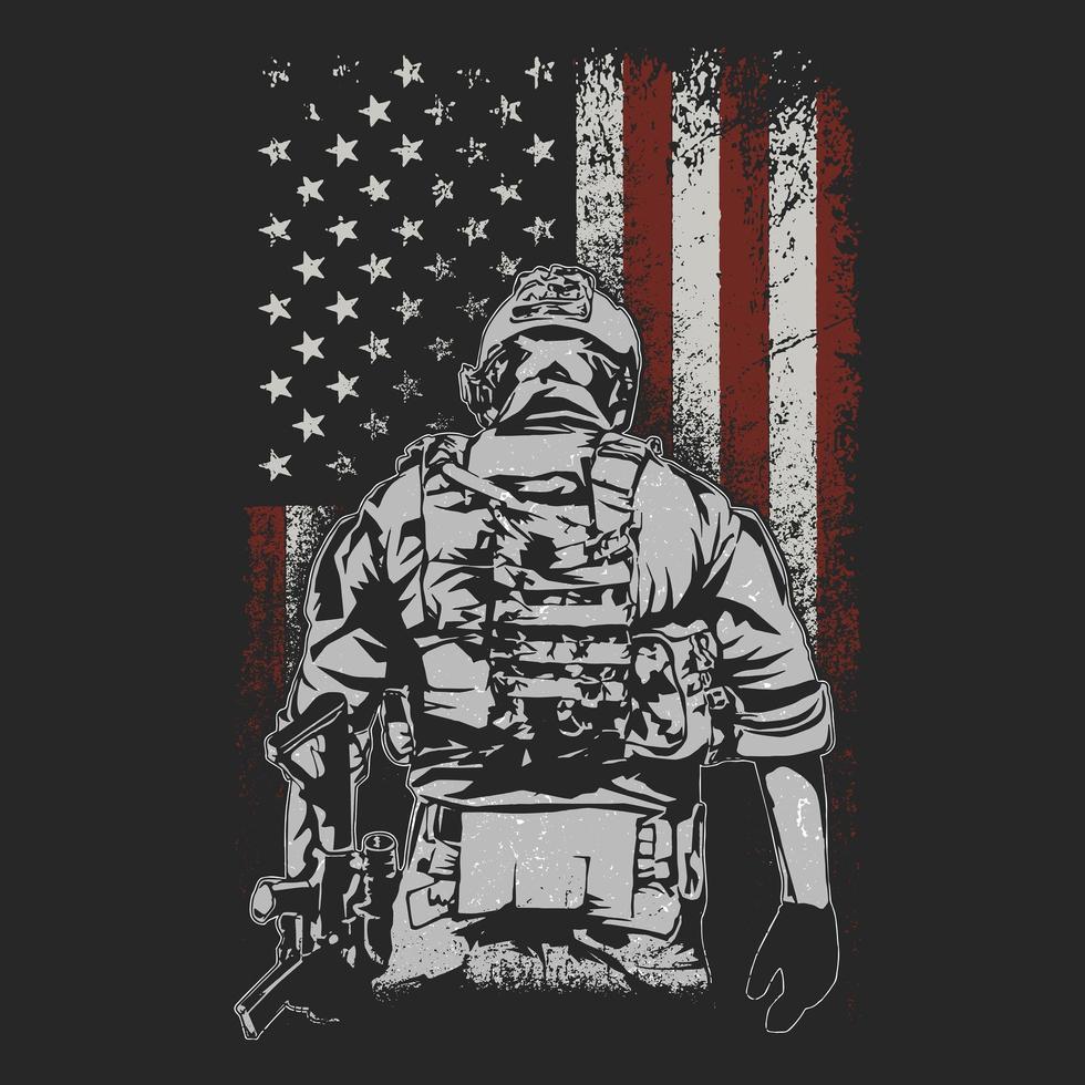 Soldat, der vor amerikanischer Flagge steht vektor