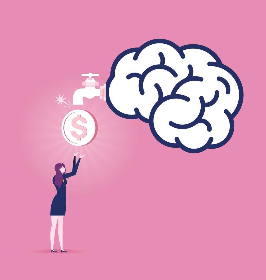 Geschäftsfrau Geld verdienen vektor