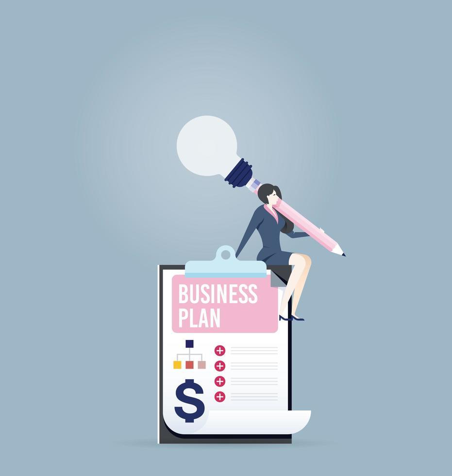 Geschäftsfrau, die einen Geschäftsplan erstellt vektor