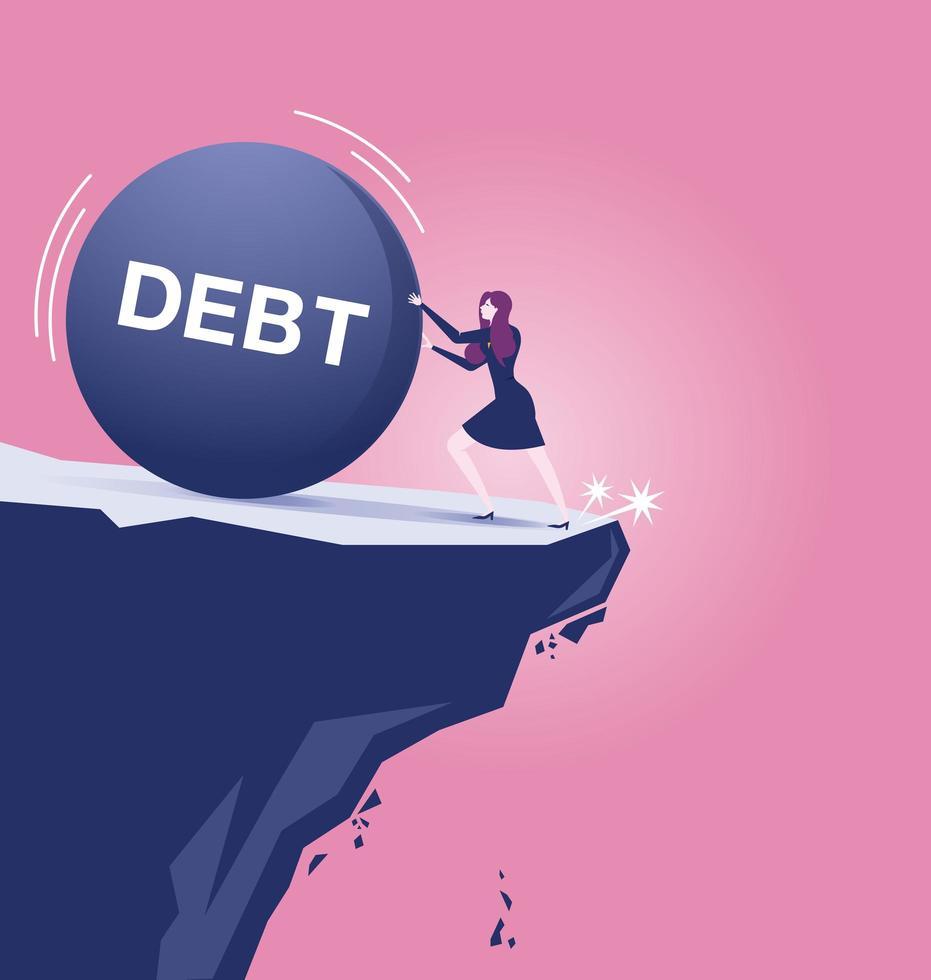 Geschäftsfrau kämpft Schulden Eisen Ball fast abfallen vektor