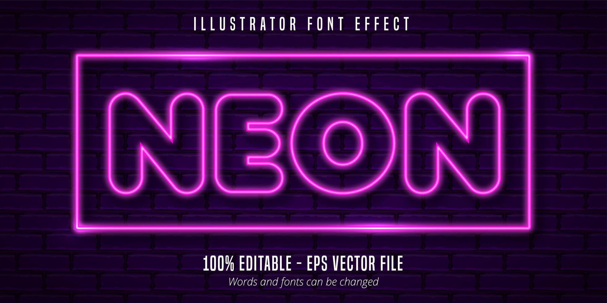 neonljus skyltstil redigerbar typsnitt effekt vektor