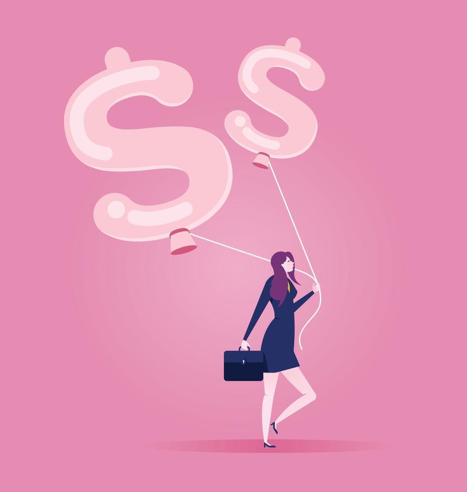 affärskvinna går med en ballong i form av dollartecken vektor