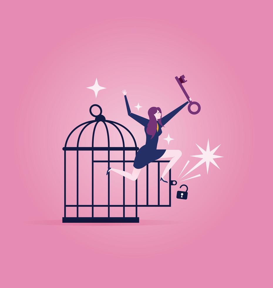 Geschäftsfrau mit Schlüssel befreit sich aus dem Käfig vektor