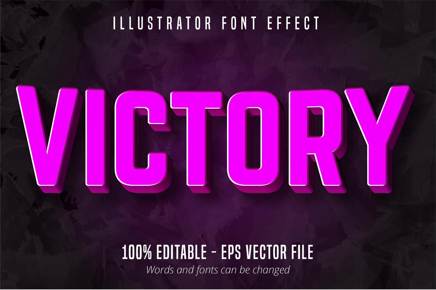 Sieg Text, 3d lila bearbeitbaren Texteffekt vektor
